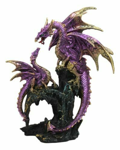 """Metallic Purple Mother Dragon With Baby Family Statue 10.5""""H Fantasy Home Decor"""