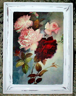 SHABBY Old-fogyish WOOD FRAME CHIC VICTORIAN PINK ROSE BRANCH PRINT COTTAGE DECOR