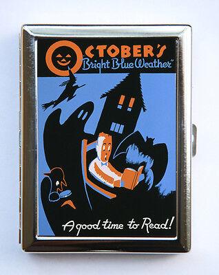 Halloween Cigarette Case Wallet Business Card Holder retro october WPA poster
