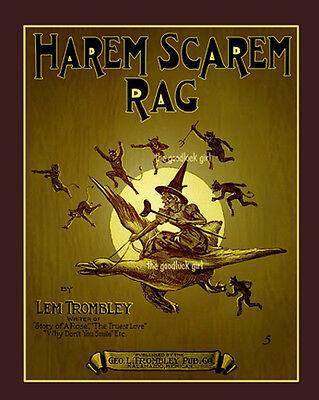 Halloween Vintage Music (HAREM SCAREM Witch & demon 8x10 Vintage Halloween sheet music cover Art)