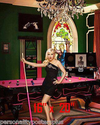 "Christina Aguilera~Color~Playing Pool~Playing Billiards~Poster~16"" x 20"" Photo"