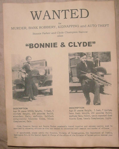 Bonnie & Clyde Wanted Poster, Gangster, Outlaw, Bank Robber