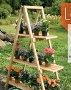 Scaffale porta vasi a 3 ripiani in legno naturale ebay - Portavasi da finestra ...