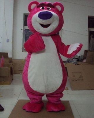 Cute Teddy Bear Costume Pink Bear Lotso Mascot Suit Adult Cosplay Unisex Outfits - Cute Teddy Bear Costume