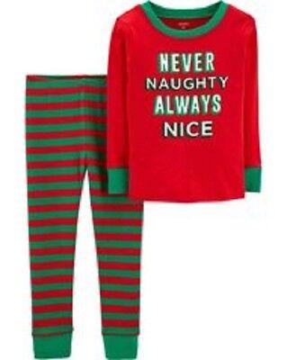 NWT Carter's Boys Never Naughty Nice Pajama PJS Carters NEW Holiday Christmas (Boys Holiday Pjs)