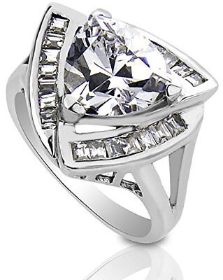 Women's .925 Sterling Silver Cubic Zirconia Trillion Cut Cocktail Ring