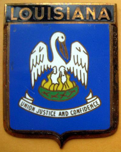 Badge auto car drago 1950s original Louisiana USA State American