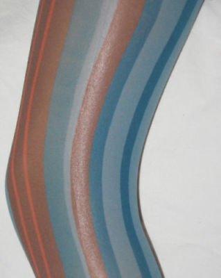 Blue Burgundy & Pink Vertical Stripe Footless Tights. 10-14 opaque stripy (Pink And Blue Striped Tights)