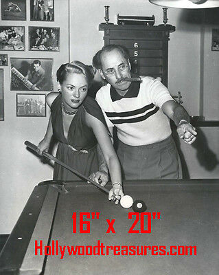 "Groucho Marx~Wife~Shooting Pool~Playing Pool~Billiards~16""x20""~Poster~ Photo"