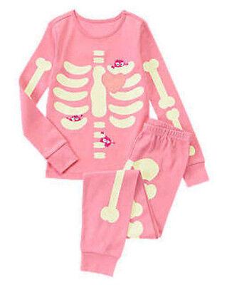NEW Gymboree Halloween Girl Pink Lil' Creatues Glow Dark skeleton pajama costume