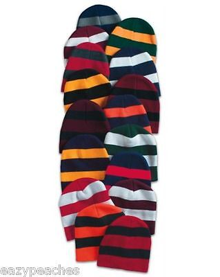Striped Knit Beanie Rugby Stripes School College Stocking Cap Skull Team Colors Rugby Stripe Beanie