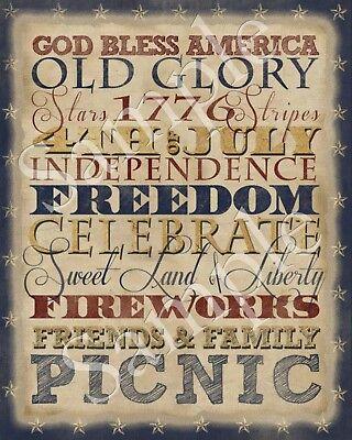 Primitive Americana Patriotic American Flag Stars Typography Word Art Print 8x10