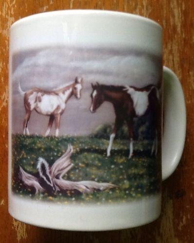 Curiosity By J Arns Western Paint Horses Ceramic Coffee Cup Mug
