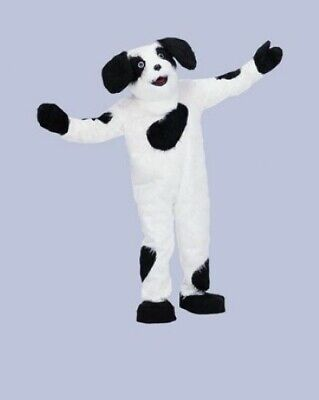 Dog Mascot Costume Adult 8Pc Blk/ Wht Sheep Dog Dlx Faux Fur Costume XL ()