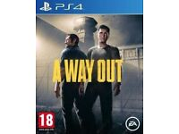 A way out game PS4 played once.