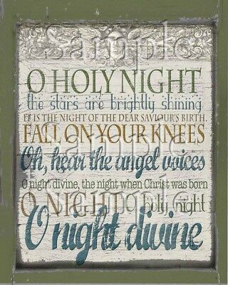 Primitive Christmas O Holy Night Song Lyrics Angel Word Art Print 8x10