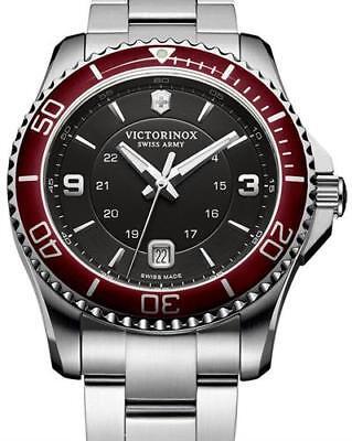 NEW   Victorinox Swiss Army 249108 Maverick Black Red  Stainlessl Watch    NWT