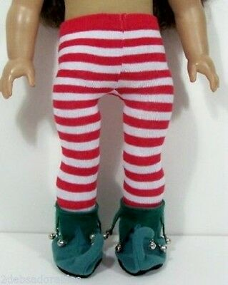 2pc Red & White Stripe TIGHTS ELF Slipper-Shoes For 18