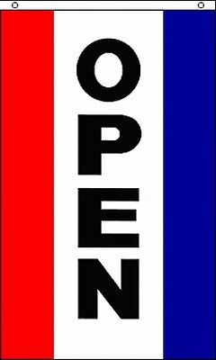 Open Vertical Advertising Flag Banner Sign 3x5 Ft Business Store Restaurant Shop