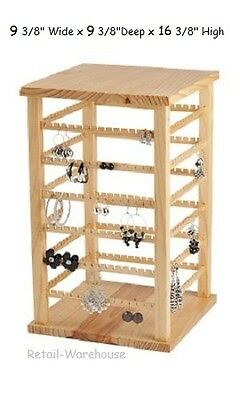 Wood Earring Display Rotating Spins Carded 168 Pair 9 38w X 9 38d X 16 38