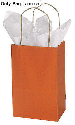 Burnt Orange Kraft Small Shopping Bags 5 X 3 X 8 Inches - Case Of 100