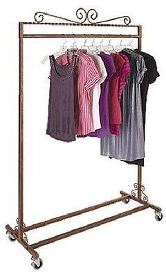 Clothing Rack Rolling Boutique Salesman Garment Casters Copper Finish 48 - 66 H