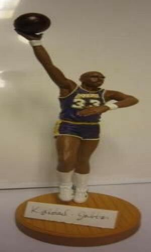 Kareem Abdul Jabbar  Autographed Los Angeles Lakers Purple Gartlan  Figurine