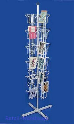 Greeting Card Rack Spins 48 Pocket White Retail Display 5 X 7 Cards Sign Holder