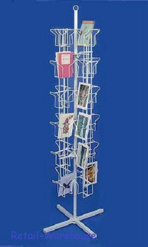 "Greeting Card Rack Spins 48 Pocket White Retail Display 5"" x 7 Cards Sign Holder"