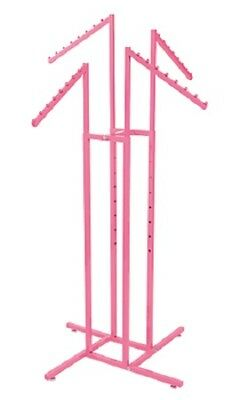 4-way Clothing Rack Hot Pink Slant Arm Garment Retail Display 48 - 72 H Adjust