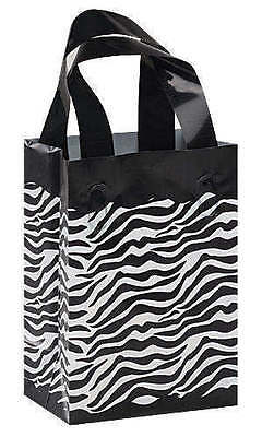 Plastic Bags Zebra Print 50 Frosted Gift Frosty Merchandise 5 X 7 X 3 Handles