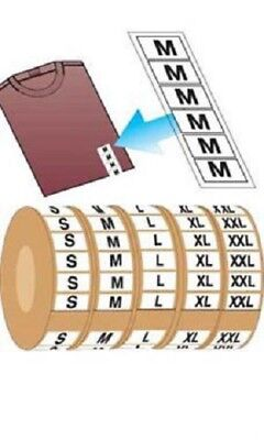 Wrap Around Clothing Size Labels S M L Xl Xxl 1 X 2 34 Adhesive 2500