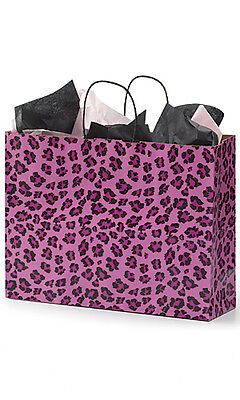 Count Of 100 Retail Large Pink Leopard Print Paper Shopping Bag 16 X 6 X 12