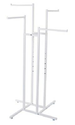 4-way Clothing Rack White Straight Arm Garment Retail Display 48 - 72 H Adjust