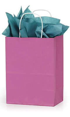 Count Of 100 New Retail Medium Shocking Pink Paper Shopping Bag 8 X 4 X 10
