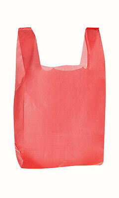 Red Plastic Medium T-Shirt Bags 11.5 x 6 x 21 Inches - Case of 1000