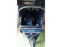 Instep twin double jogger pushchair