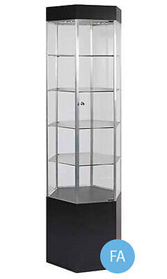 New Metal Framed Black Hexagonal Tower Display Case With Light 75h X 20w