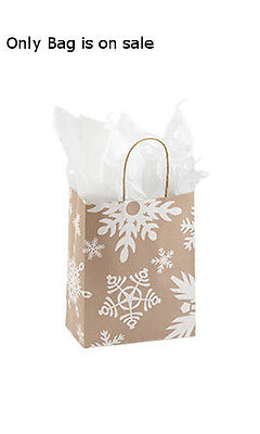 Giant Snow Flake Medium Paper Shopping Bags 8 W X 5 D X 10 H Inches - Lot Of 100