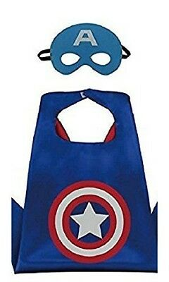 Captain America Cape And Mask Child Set Kids Halloween Play Action Costume  (Kids Captain America)