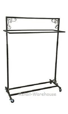 Clothing Rack Double Rail Rolling Garment 48 W X 20 D X 48 62 Vintage Style