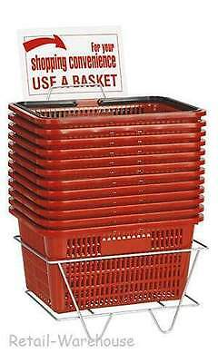 Shopping Baskets Set Of 12 Red Durable Break Resistant Plastic W Metal Stand