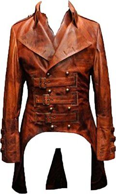 Men's Steampunk Matrix Victorian Costume Gothic Style Leather Coat Jacket (Victorian Mens Costumes)