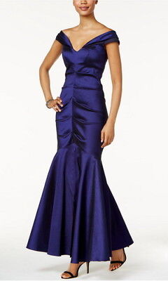 Xscape Off-The-Shoulder Ruched Mermaid Gown Size 4 #F147 MSRP