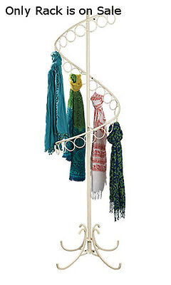 Spiral Scarf Display Rack In Ivory Finish 72h X 17w Inches With 27 Scarf Rings