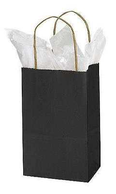 Black Paper Bags 50 Small Retail Merchandise Shopping Gift 5 X 3 X 8 H