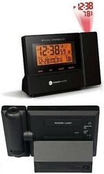 Radio Controlled Projection Alarm Clock Ambient Weather RC-8427 w/ Indoor Temp