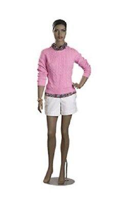 Full Body Female Mannequin Metal Base Black African Chest 32 5 11 Fiberglass