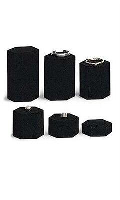 Hexagonal Jewelry Display Risers In Black Velvet 4 Inch W Diagonal - Set Of 6