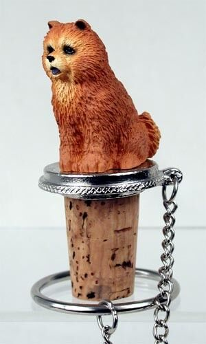 Chow Chow Red Dog Hand Painted Resin Figurine Wine Bottle Stopper